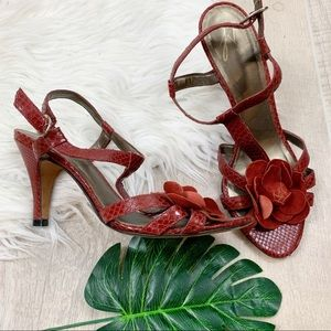 J.Vincent Red Strappy Slingback Open Toe Heel Pump